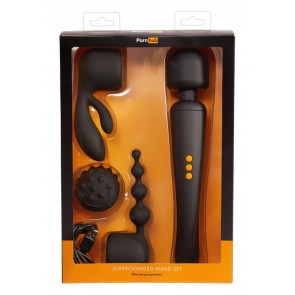 Pornhub Supercharged Wand Set, Silicone, Black, 30 cm (12 in)