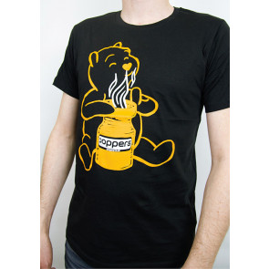 "Premium T-Shirt ""Sniffing Pooh"", Organic Cotton, Black/Yellow, S to XXL"