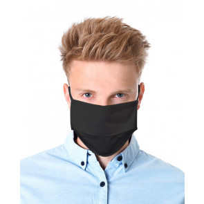 Reuseable Three Layer Face Mask with Elastic Band, Black, One Size